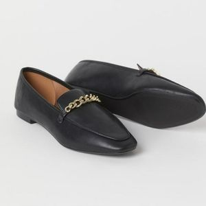 H&M Black Faux Leather Slip On Gold Chain Loafers